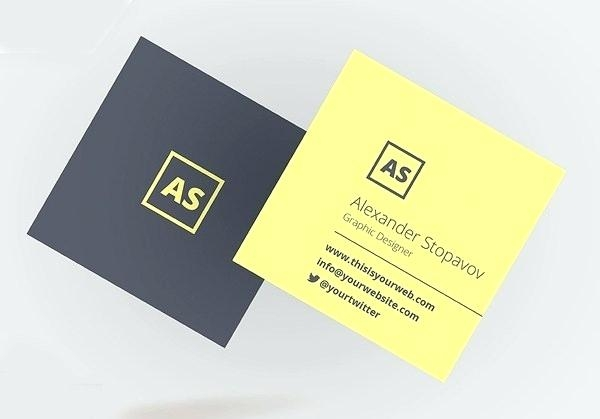 modern square business card template psd