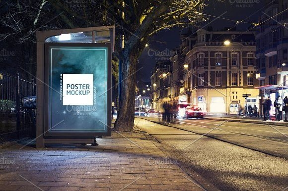 nighttime city abri kiosk mockup billboard templates billboard