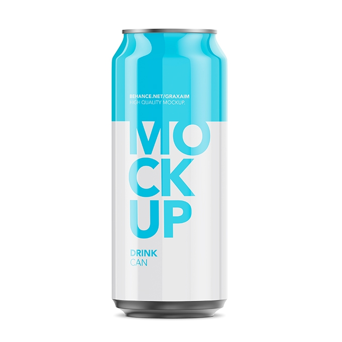 packreate glossy aluminium can mockup 500ml