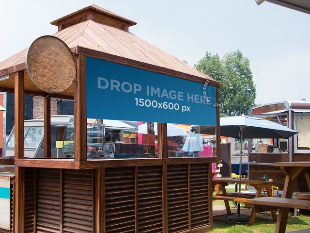 placeit horizontal banner mockup over a wooden kiosk