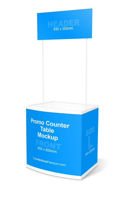 promo counter table mockup cover actions premium mockup psd template