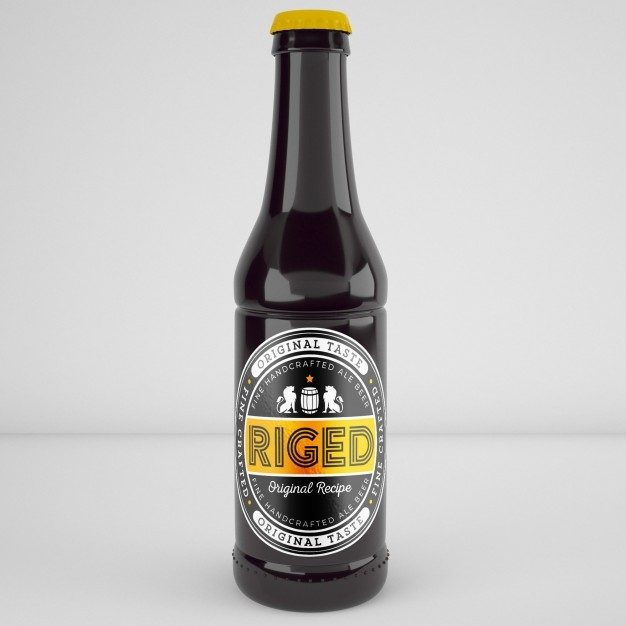 realistic beer bottle mockup psd file free download