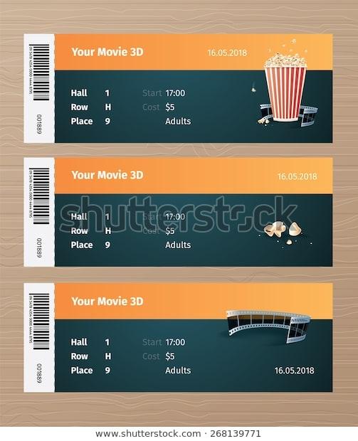 set 3 cinema tickets ticket mockup stock vector royalty free 268139771