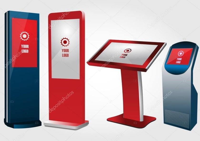 set of promotional interactive information kiosk advertising
