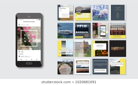 social media mockup design stock vectors images vector art