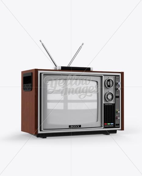 sony 1300e vintage tv mockup half side view in object mockups
