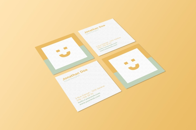 square business card mockup psd file premium download