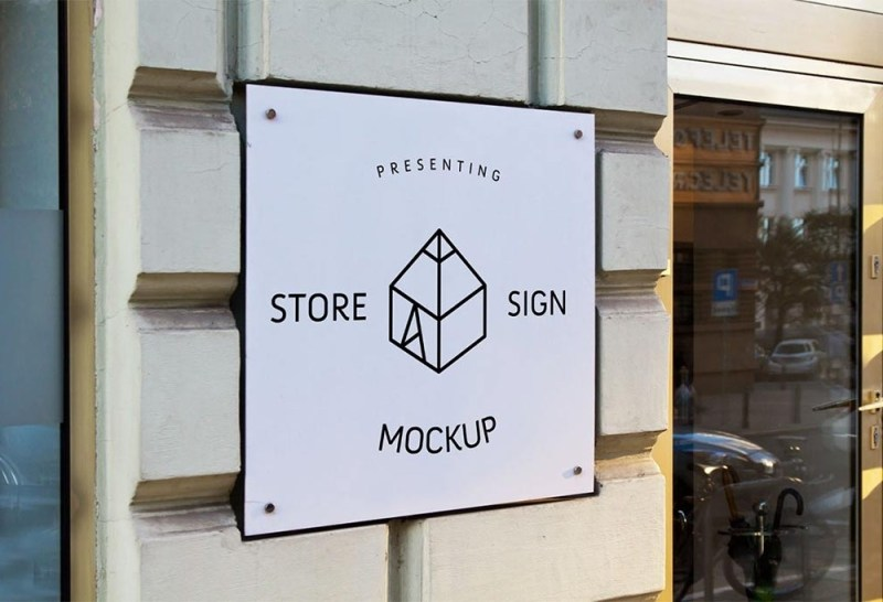 store square sign mockup mockupworld