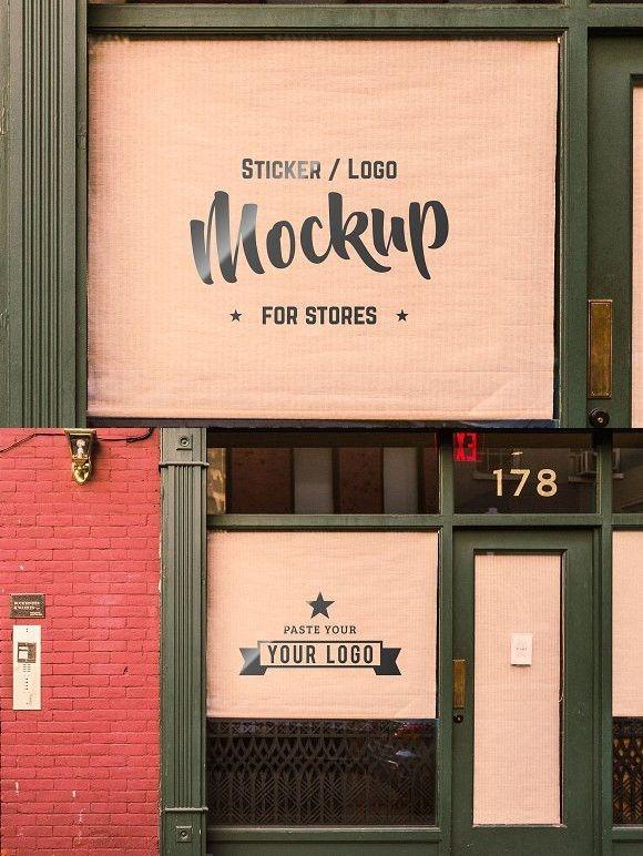 storefront sticker sign logo mockup logo mockups storefront