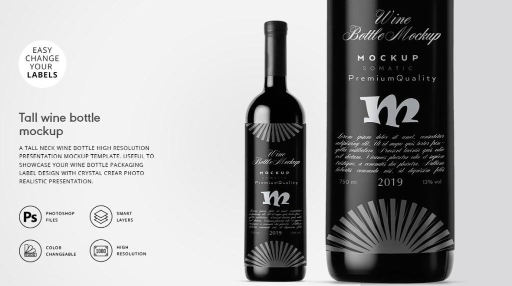 tall neck wine bottle mockup designertale