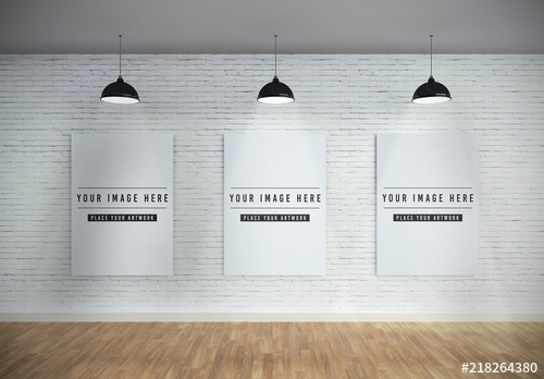 three vertical canvases on wall mockup buy this stock template and