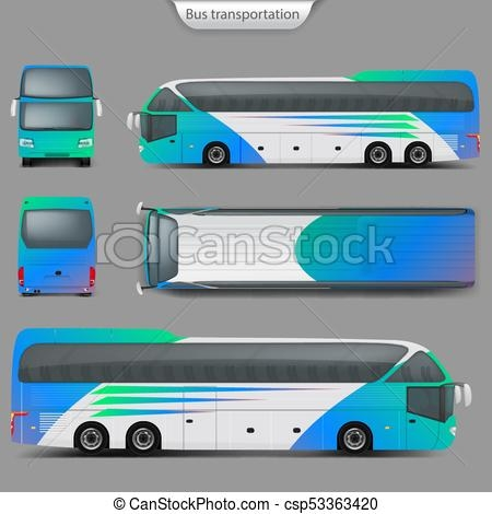 vector realistic coach bus mockup back top view realistic vector