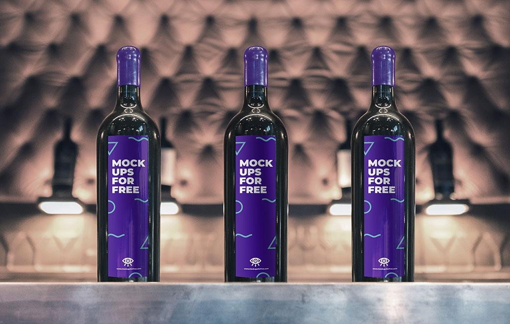 wine bottle mockup mockups for free
