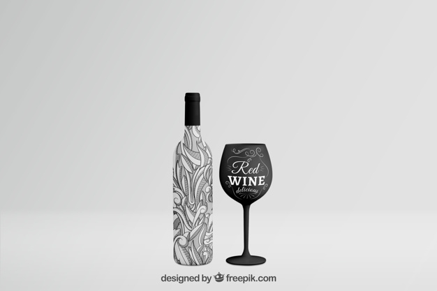 wine bottle mockup with glass psd file free download