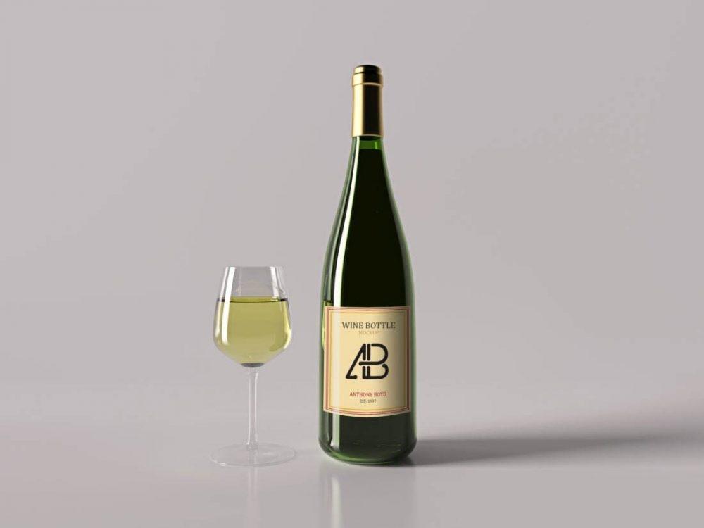 wine bottle with glass mockup mockupworld