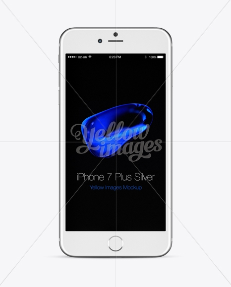 apple iphone 7 plus silver mockup front back views in device