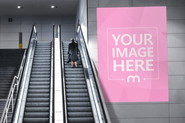 billboard in the subway mockup template mediamodifier