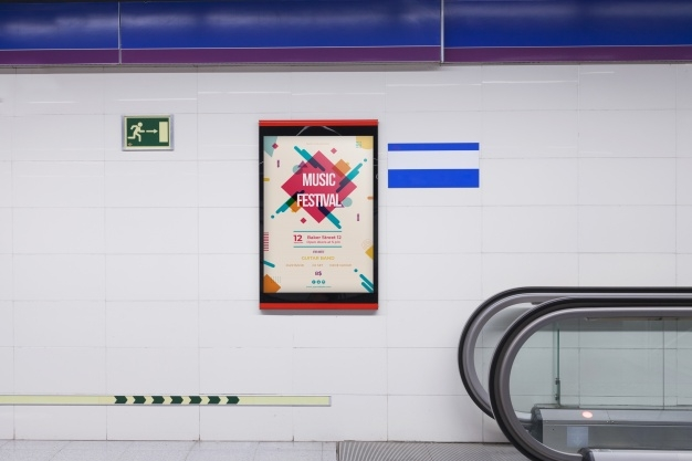 billboard mockup in subway station psd file free download