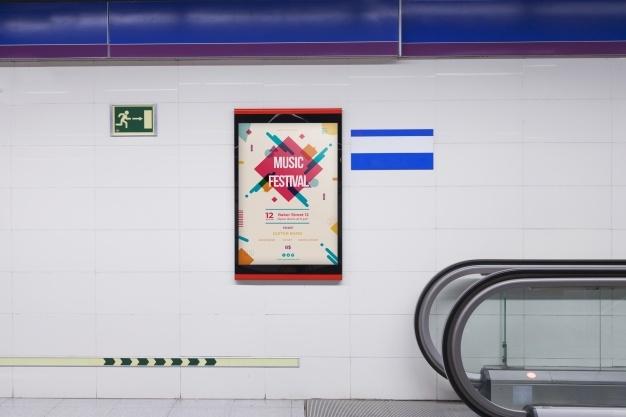 billboard mockup in subway station psd file free download