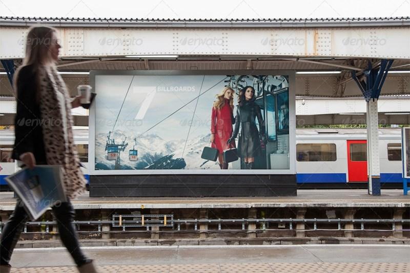 billboard underground metro subway mock up