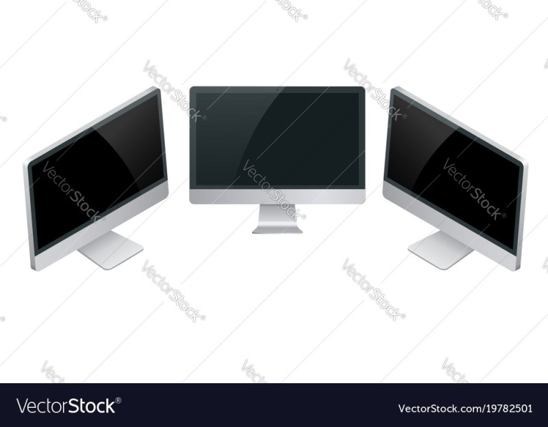 computer monitor screen mockup with a perspective