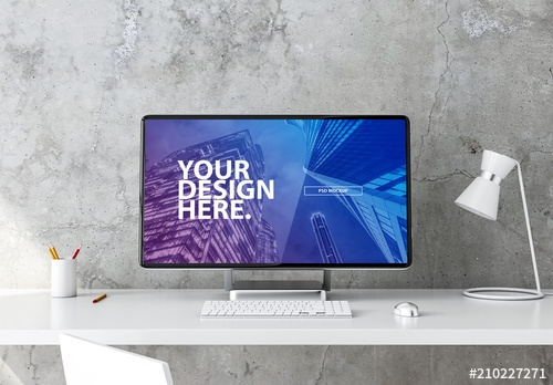desktop computer on desk mockup buy this stock template and
