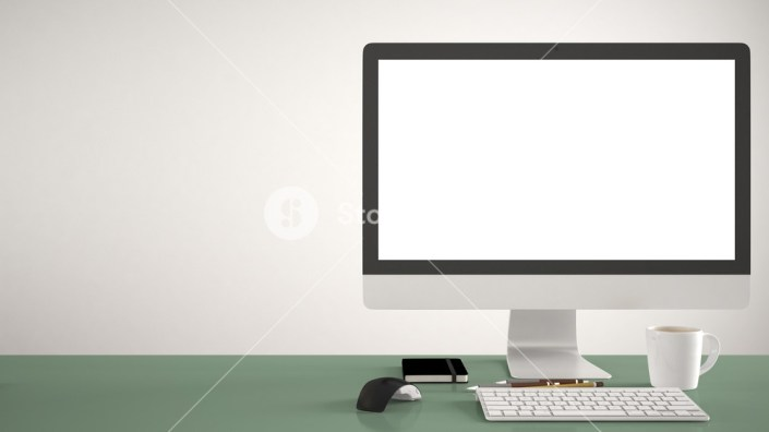desktop mockup template computer on green pantone colored work
