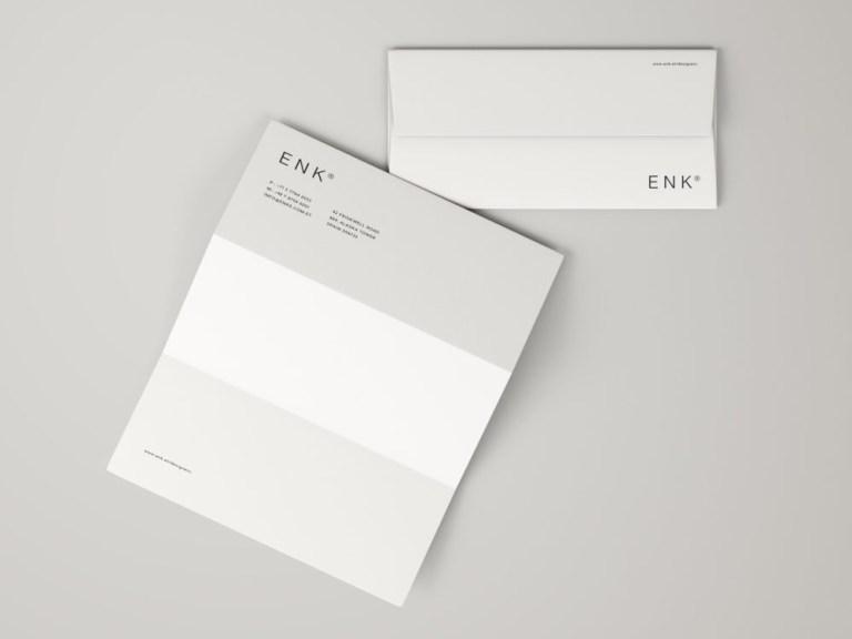 envelope and a4 folded letterhead free mockup