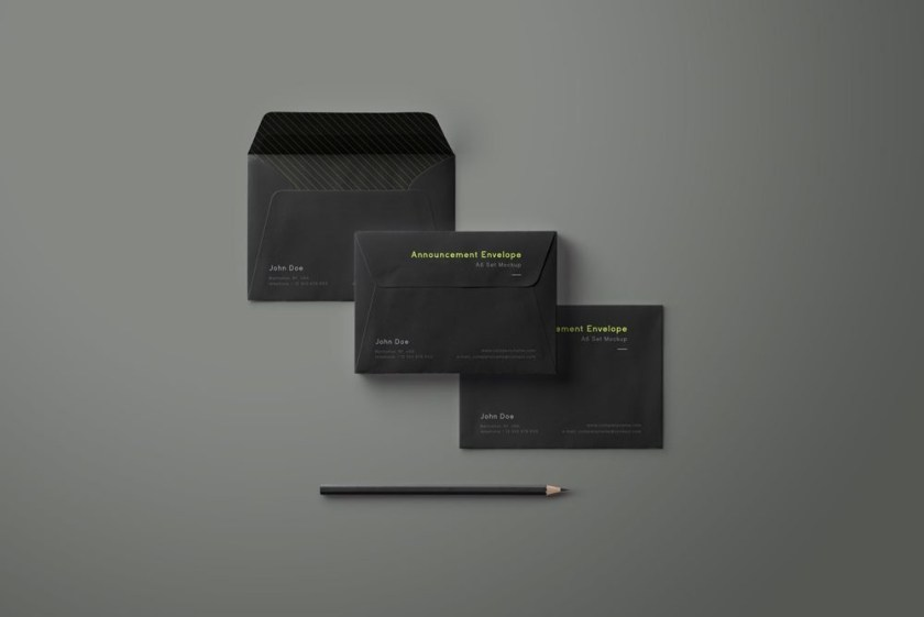 envelope mockup set mockupworld