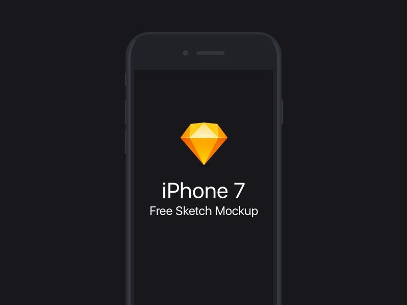 free flat iphone 7 sketch mockup freebie supply