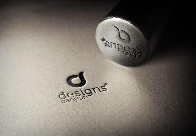 free psd steel stamp logo mockup template designscanyon