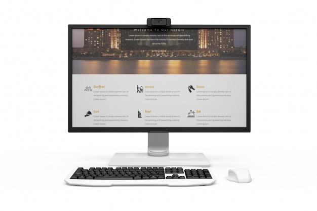 free realistic modern desktop computer mockup designhooks
