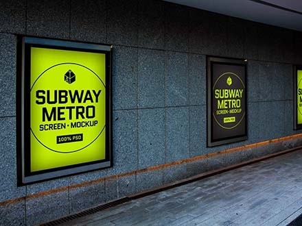 free subway metro screen mockup psd