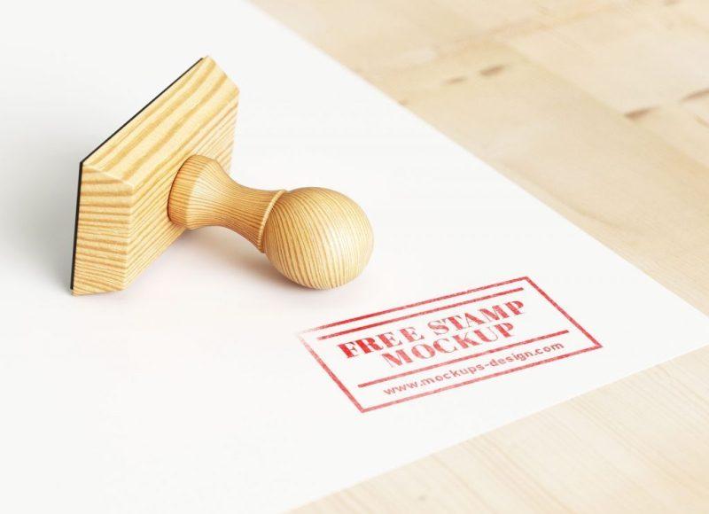 free wooden rubber stamp mockup psd good mockups