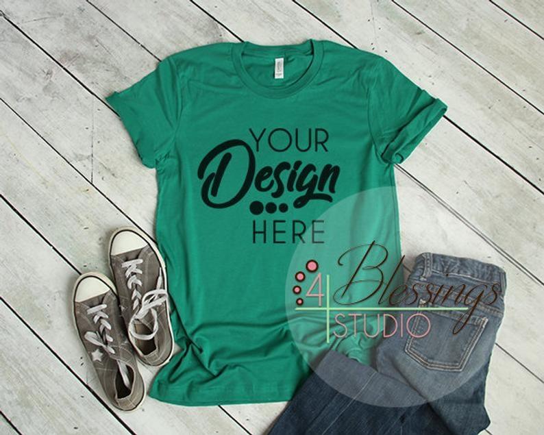 kelly green t shirt bella canvas mockup 3001 kelly green unisex shirt tshirt flat shirt mockup flat lay womens shirt mockup printful mockup