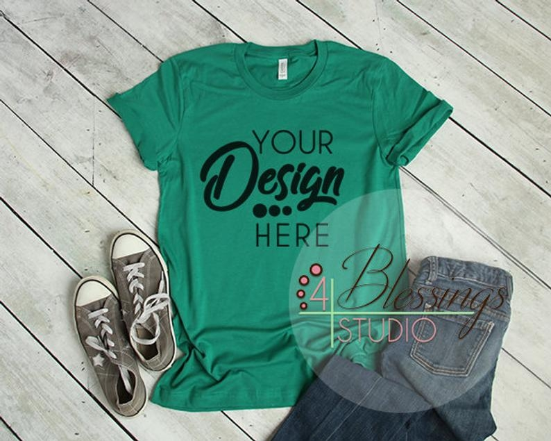 kelly green t shirt bella canvas mockup 3001 kelly green unisex shirt tshirt flat shirt mockup flat lay womens shirt mockup printful mockup