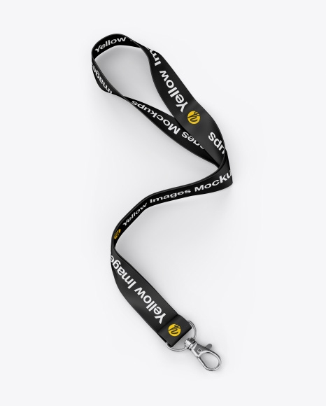 lanyard mockup half side view in object mockups on yellow images