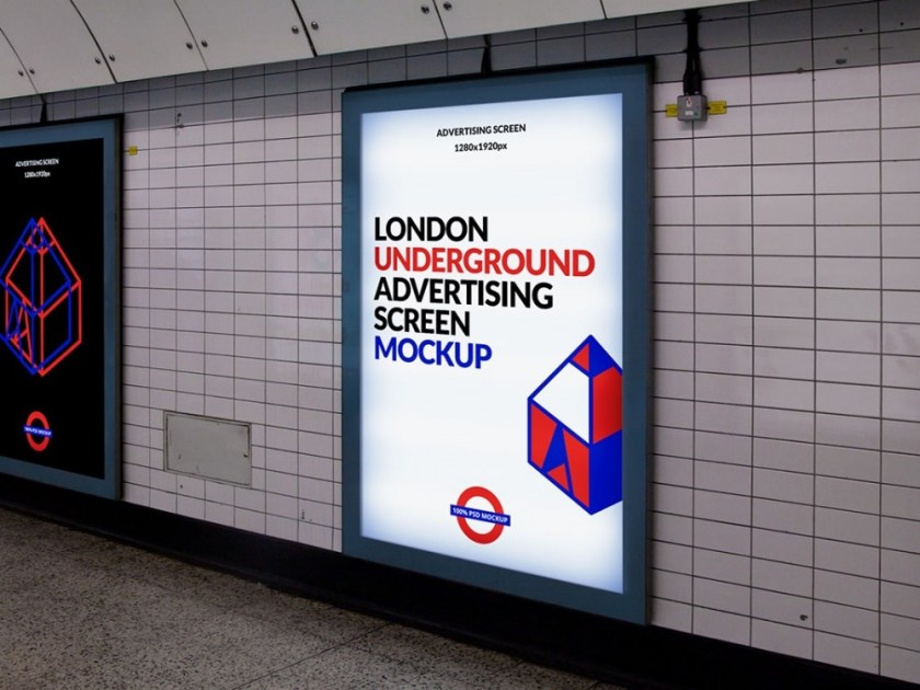 london subway advertising display mockup mockupworld