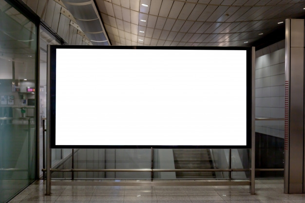 mockup image of blank billboard white screen posters and led in the