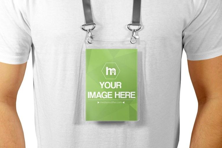 portrait lanyard id card badge holder mockup psd mockup on behance