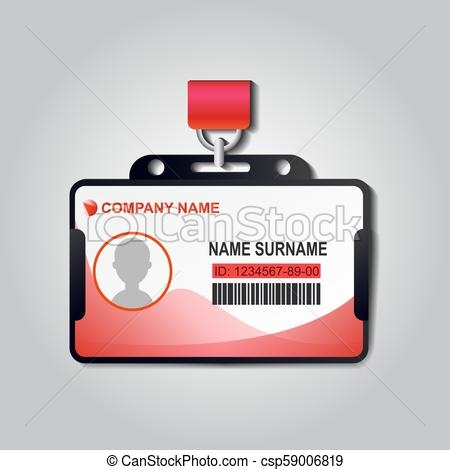 realistic plastic id card badge with lanyard vector identiry business mockup illustration design security access blank template