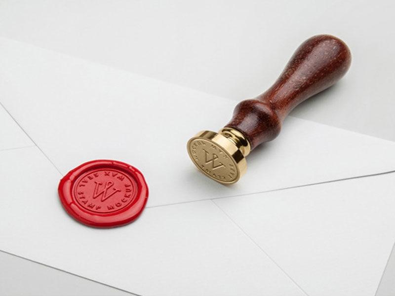 wax seal stamp free psd mockup