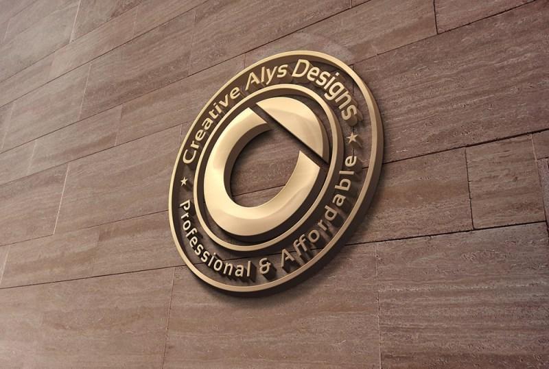 3d wall logo mockup creative alys