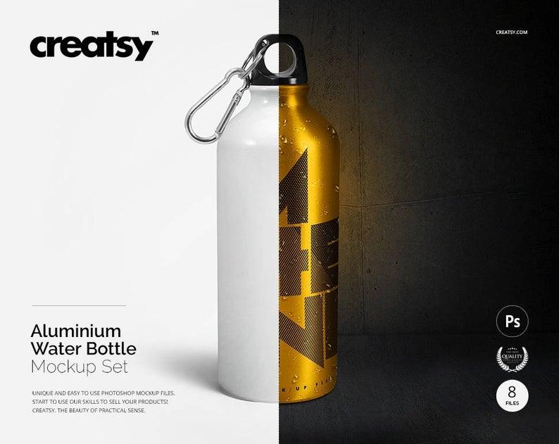 aluminum water bottle mockup set sport bottles mockup travel mug mockup stainless steel water bottle template cup mockup sublimation