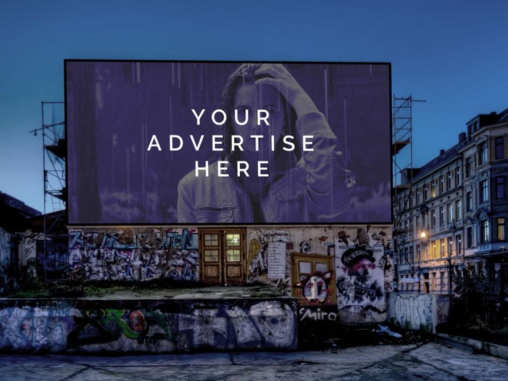 artistic huge advertising banner mockup mockupblast