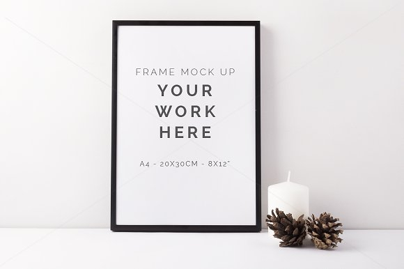 autumn a4 black frame mockup