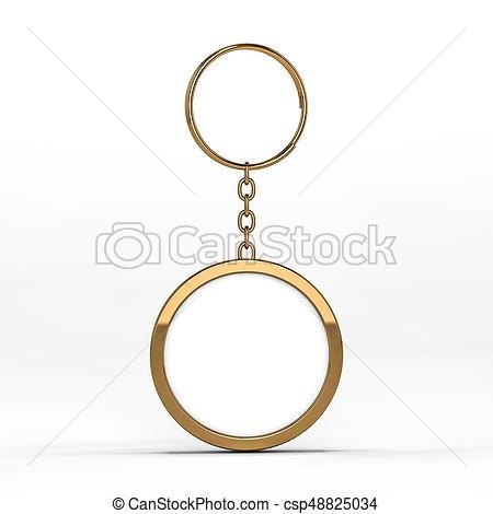 blank gold keychain mockup