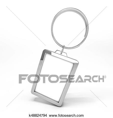 blank metal keychain mockup stock illustration