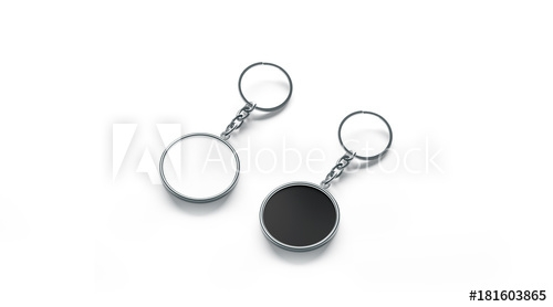 blank metal round black and white key chain mock up side view 3d