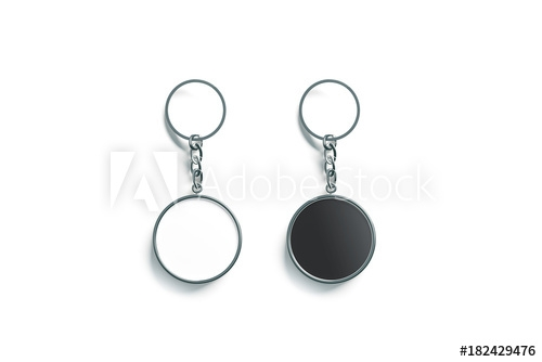 blank metal round black and white key chain mock up top view 3d